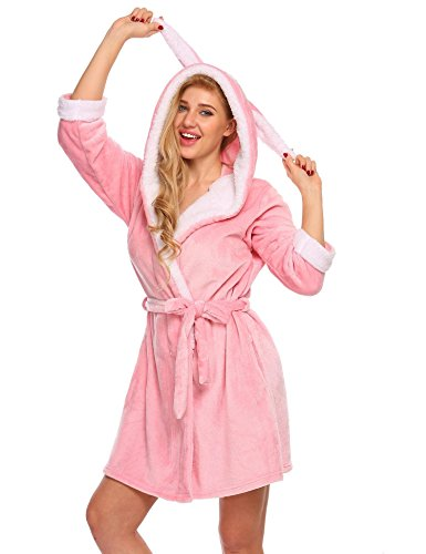 Ekouaer Womens Fleece Robe, Animal Hooded Bathrobe