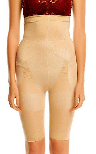 Ekouaer Women's Tummy Tuck High Waist Seamless Thigh Slimmer