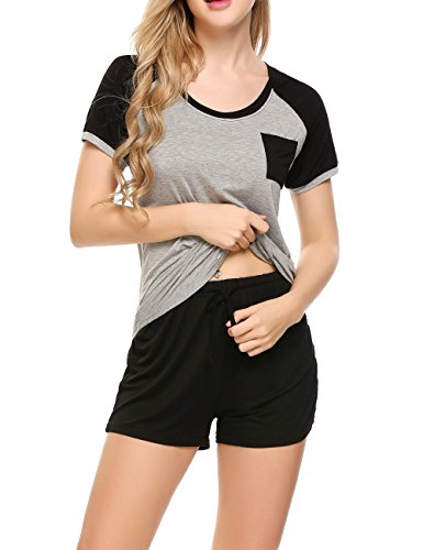 Ekouaer Women's Modal Round Neck Sleepwear Short Sleeve with Shorts Pajama Set Black XL