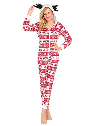 Ekouaer Adult Onesie Pajamas Women Christmas Hooded Plush Animal Onesies