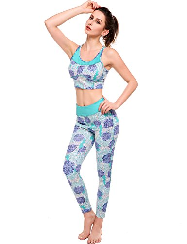 Ekouaer Sports Wear Womens Fitness Tights Yoga Bra Pants Leggings Tracksuit