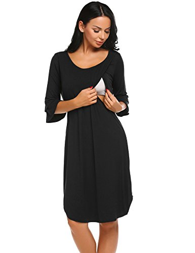 Ekouaer Mom Maternity Nursing Breastfeeding Nightgown Dress Short Sleeve Sleepwear