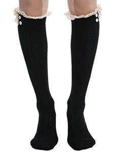 Ekouaer Women Knee Length Thigh High Stocking Sweet Cotton Boots Lace Decor Socks