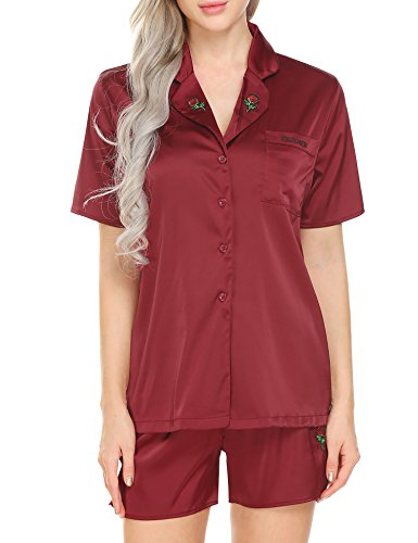 Ekouaer Women Satin Sleepwear Short Sleeve Pajamas Set