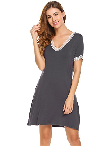 Ekouaer Womens Knit Nightgown Short Sleeve Soft V neck Lace Sleep Shirt Dress