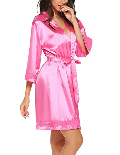 Ekouaer Women's Satin Kimono Robe V-Neck Short Bathrobe With Silk Lace Trim Sleepwear S-XXL