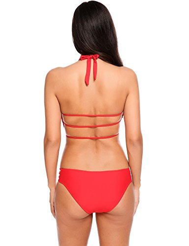 Ekouaer Bikini Set Womens Halter Strappy 2pcs Wrap Swimsuits Bathing Suit Solid Color S-XXL
