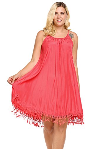 Ekouaer Women's Plus Size Spaghetti Strap Swing Beach Dress Lace Trim Loose Fit Casual Wear Sleep Dress