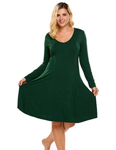 Ekouaer Women's Plus Size Dress Casual Long Sleeve Lounge Sleep Dress T Shirt Knit Nightgown (L-4XL)
