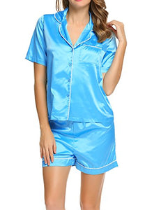 Ekouaer Short Sleeve Satin Pajama Set Single Button Silk Sleepwear for Women