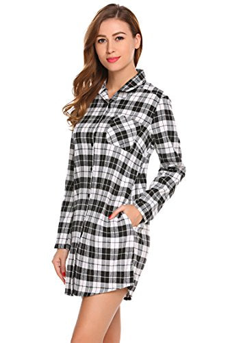 Ekouaer Womens Boyfriend Long Sleeve Sleep Shirts Button Down Tops Cotton Sleepwear