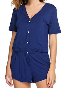 Ekouaer Womens Short Sleeves Romper Pajamas V-neck Loungewear Comfort Jumpsuit Sleepwear