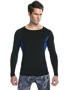 Ekouaer kouaer Men's Skin Fit Long Sleeve UPF50+ Performance Compression Shirt