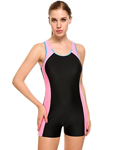 Ekouaer Womens One Piece Swimsuit Sports Racer Back Tankini Boyleg Swimwear (Black, 2XL)