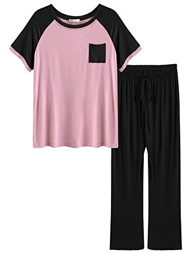 Ekouaer Women's Round Neck Sleepwear Short Sleeve Top
