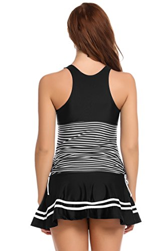 Ekouaer Girls Monokini Swimwear Striped Vintage Swim Dress Swimsuit Beachwear S-XXL