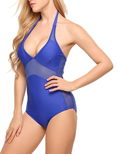 Ekouaer Womens Swimsuits One-Piece Sexy Bathing Suit Mesh Patchwork Monokini XS-XL