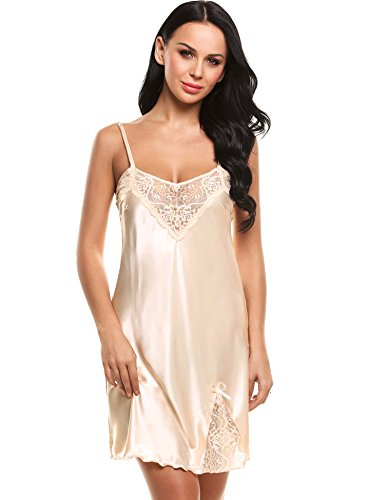 Ekouaer Women Chemise Nightgown Full Slip Ruched Lounge Dress Sleepwear(Apricot, Large)