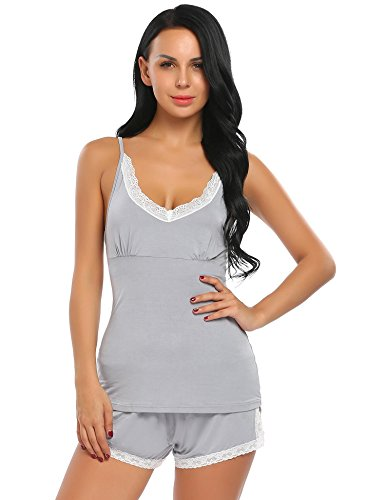 Ekouaer Women's Sexy Sleeveless Pajamas Set Lace Camisole Sleepwear(FBA)