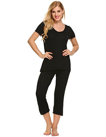 Ekouaer Womens Two Piece Short Sleeve Pajamas Set