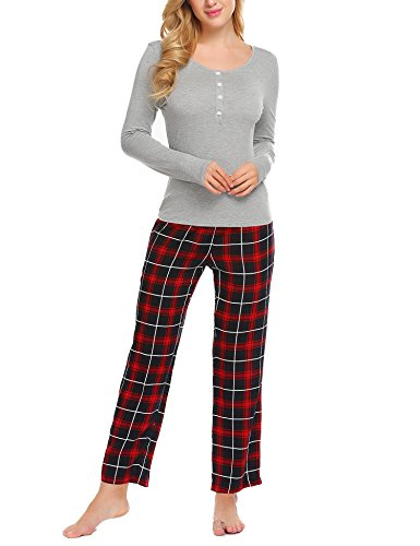 Ekouaer Women's Plaid Christmas Pajama With Pants Long Sleeve Sleepwear