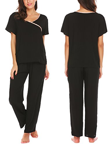 Ekouaer Women's Scrub Sets /4 Pocket Medical Scrubs Nursing Uniforms Top and Pants (Mock Wrap)