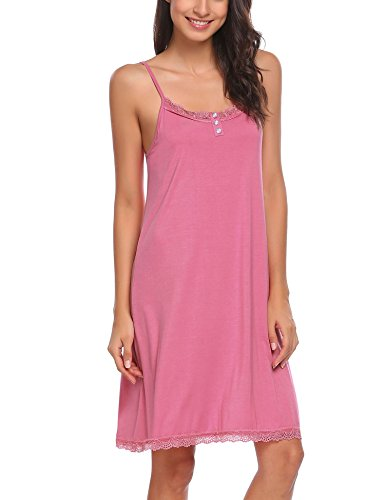 Ekouaer Sleepwear Women Nightgown Lace Chemise Full Slip Night Dress With Button S-XXL