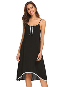 Ekouaer Women's Soft Sleepwear Plus Size Nightgown Long Lounger Dress (Black,XL)