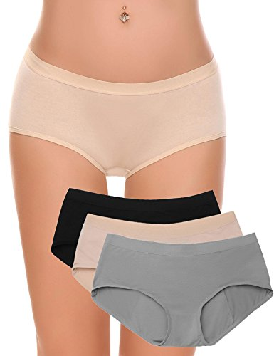 Ekouaer Womens 3 Pairs Period Panties Menstrual Protection Brief Underwear (Mixed Colors, XXL)