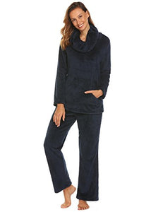 Ekouaer Sleepwear Women's Long Polar Fleece Pajama Set Warm and Cozy Loungewear S-XXL