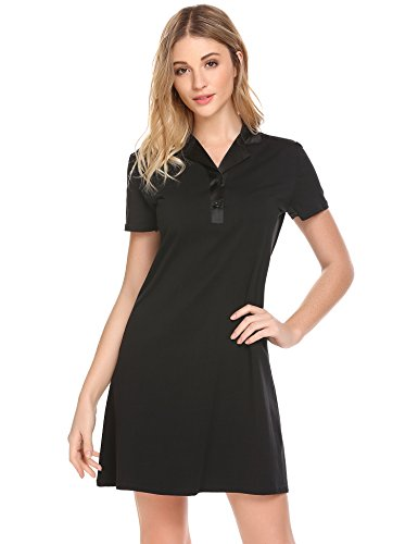Ekouaer Womens Short Sleeve Sleepshirt Button Down Top Boyfriend Nightshirts