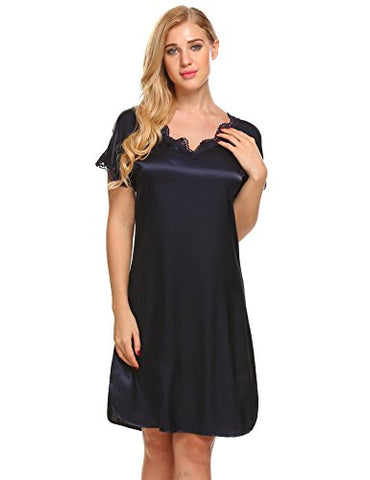 Ekouaer Nightgown For Womens, Sexy Lingerie Satin Lace Chemise Sleepwear Navy M