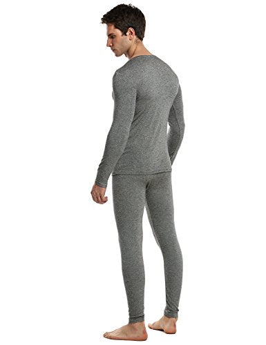 Ekouaer Mens Thermal Underwear Set Ultra Soft Comfort Microfiber Long Johns Set with Fleece Lined, Black/White, S