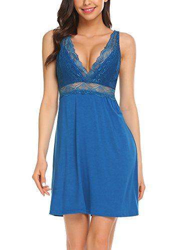 Ekouaer Sexy Cotton Nightgown Short Lace Chemise Sleepwear