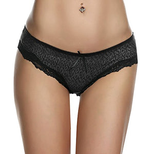 Ekouaer Women's Sexy Lace Low Rise Hipster Panties Hi-Cut Thongs Briefs, S-XL