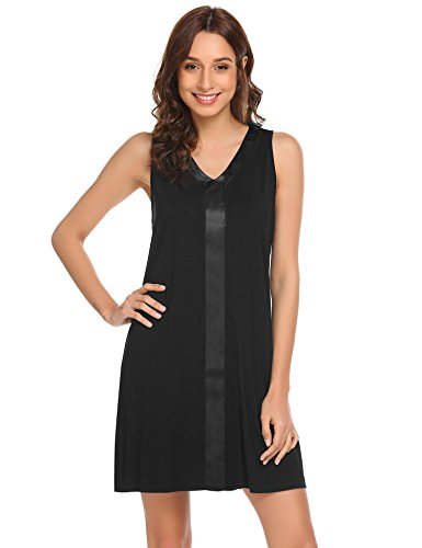 Ekouaer Sleeveless Nightgown Women's Cotton V Neck Sleepdress