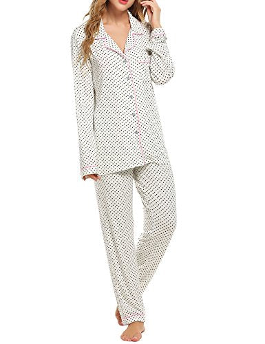 Ekouaer Pajamas Women's Long Sleeve Sleepwear Soft PJ Set