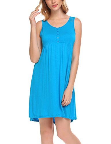 Ekouaer Sleepwear Women's Sleeveless Nightgown Sleep Shirt Nightshirt Button Lace Tank Dress S-XXL