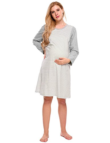 Ekouaer Women's Maternity Nursing Nightgown Striped Breastfeeding Sleep Dress