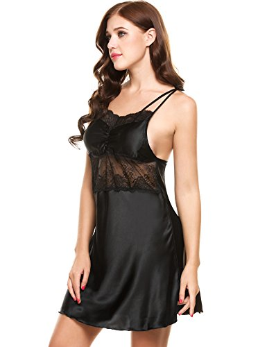 Ekouaer Women's Satin Lace Full Slip Chemise Silk Nightgown Sleepwear