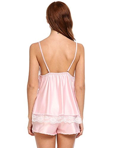 Ekouaer Womens Sleepwear Lingerie Satin Short Pajamas Sexy Cami Set