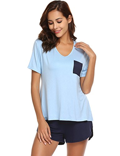 Ekouaer Pajama Set Women's V-Neck Cotton Sleepwear Short Sleeves Top