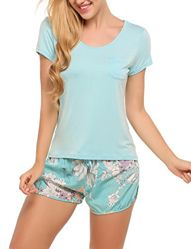 Ekouaer Casual Shirt and Pants Short Pajama Set Floral Sleepwear