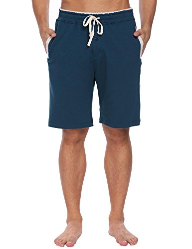 Ekouaer Mens Cotton Knit Pajama Shorts With Pockets