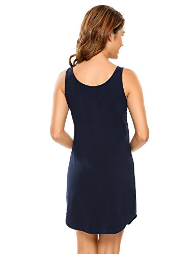 Ekouaer Sleeveless Sleepwear Casual Cotton Nightgown Dress With Button
