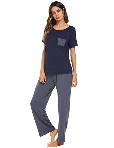 Ekouaer Womens Cotton PJS Short Sleeve Round Neck Pajama Set Sleepwear