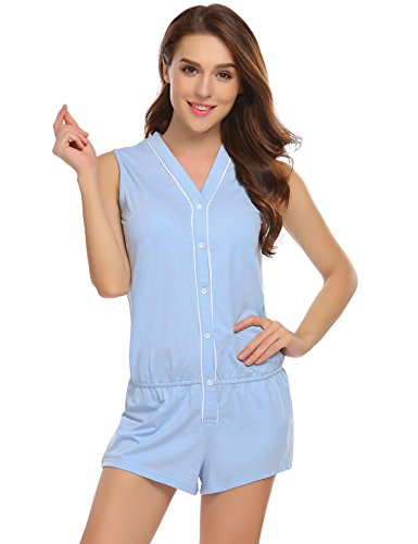 Ekouaer Women's Sleeveless V-Neck Rompers Sleepwear Cotton Jumpsuit