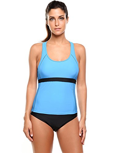 Ekouaer Two Piece Swimsuits Womens Racerback Tankini Top Sets Padded Swimwear S-XXL