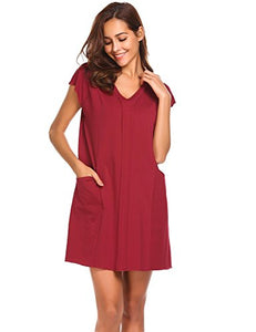 Ekouaer Womens Ruched Nightgown Short Sleeve Nightshirt Sleep Dress (Red, M)