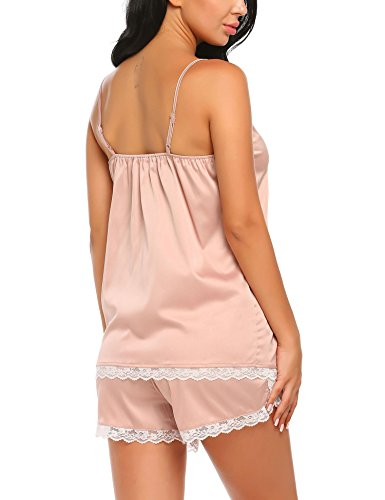 Ekouaer Sleepwear Womens Satin Pajama Set Keyhole Cami Lace Trim Sexy Nightwear S-XL